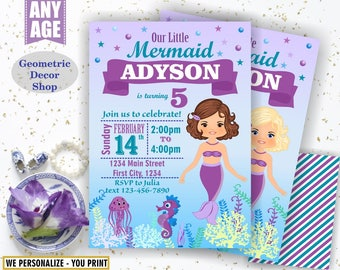 Mermaid POOL PARTY Invitation, Pool Party, Pool Bash, Birthday Invitation, Birthday Invite Girl Swimming Purple aqua Summer BDM5