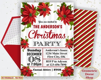 Winter Christmas Party invitation Birthday invite red green sweet invites Floral poinsettia flowers Holiday Boy Girl BDW51