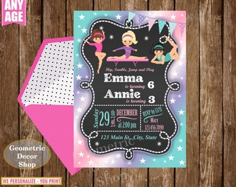 Gymnastic / Invitation / Birthday / Invite / Girl / Pink / Aqua / Purple / Photo / Photograph / dual / combined / joint / double /  twins /9