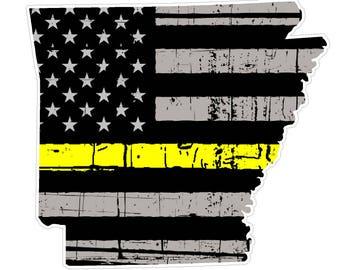 Arkansas State (E6) Thin Yellow Line Dispatch Vinyl Decal Sticker Car/Truck Laptop/Netbook Window