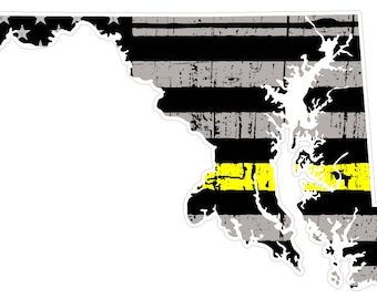 Maryland State (E21) Thin Yellow Line Dispatch Vinyl Decal Sticker Car/Truck Laptop/Netbook Window
