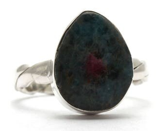 Created Ruby Zoisite Ring, 925 Sterling Silver, Unique only 1 piece available! SIZE 7 (inner diameter 17.33mm), color green, weight 3.9g,