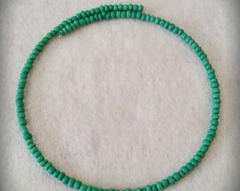 Green Seed Bead Memory Wire Choker