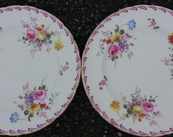 2 (2pc) Vintage Royal Crown Derby Posies China Dinner Plates Pink Floral Chintz Wedding Tableware, Crockery, Tea Party, Tea Room, Restaurant