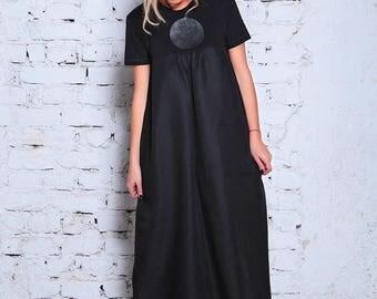Linen Maxi Dress/ Plus Size Linen Dress/ Plus Size Maxi Dress/ Black Caftan Dress/ Black Kimono Dress/ Black Kimono / Plus Size Caftan
