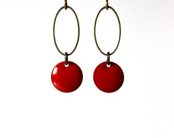 Red rings bronze Sequin enamel earrings