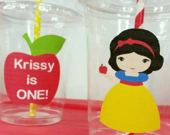 12 Personalized Princess Inspired Party Cups with Straws and Lids!