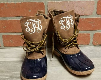 Personalized Navy Duck Boots, Monogrammed Duck Boots