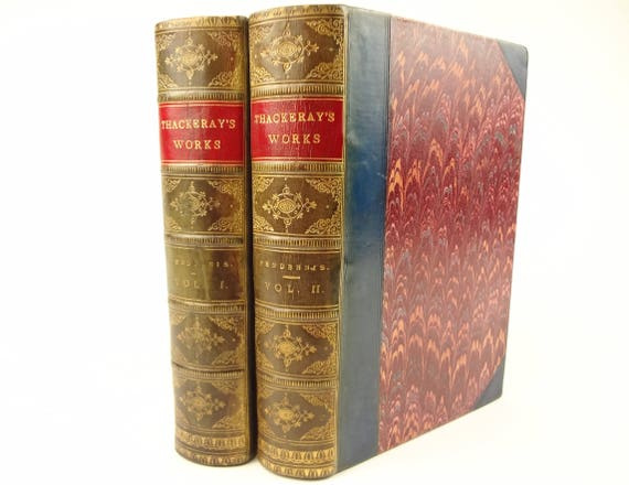 Pendennis by William Makepeace Thackeray. Richly illustrated. 2 Volumes. Richly marbled. Classic novel.