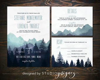 Mountain Wedding Printable Invitation Suite, Great Outdoors Wedding Printable Invitation Set, Digital Wedding Invitation Suite