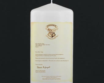 Harry Potter Candle - Acceptance Letter Pillar Candle, Hogwarts, Witchcraft