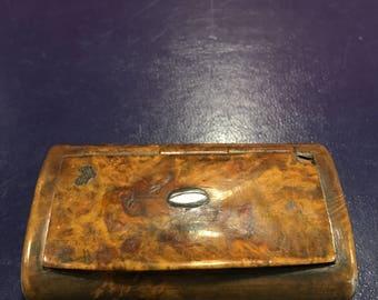 Antique Burr Wood Snuff Box c1840