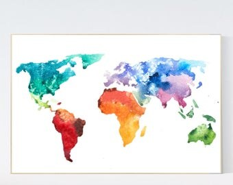Color World Map Watercolor Poster Nursery Decor
