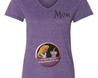 Disney Alice in Wonderland unbirthday Pregnancy Maternity V Neck Tee