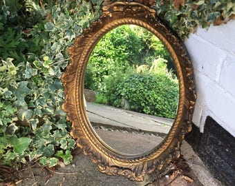 lovely gold oval alabaster mirror - vintage mirror.