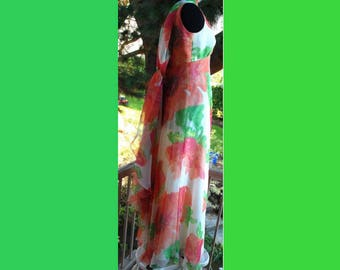 Shannon Rodgers for Jerry Silverman I. Magnin Flowered Chiffon Dress with Attached Scarf or Train