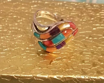 Sterling Silver Multi Color Turquoise Ring Sz 7
