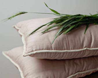Bed pillows. King, queen, standard, euro, custom pillow inserts. Organic wool batting. Cotton sateen cover. Luxury bedding. Pink bedding.