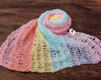 Rainbow Baby,Mohair Wrap,Newborn Photo Prop,Newborn Wrap,Photography Prop,Newborn Mohair Wrap,Baby Wrap,Photo Prop