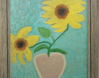 Original Acrylic Sunflowers 16X20 Canvas Impressionist Textured Painting