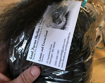 Shetland sheep wool roving - gorgeous black!! Super soft!!