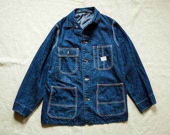 Vintage Selvedge Denim Union Chore Jacket Shop Coat Cone Raw RRL lvc levis Post overalls tellason work usn ww2 Buzz Rickson Nigel Cabourn