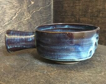 SECONDS Handmade Blue Shaving Bowl, Ceramic Wet Shave Bowl, Shaving Scuttle, Shaving Mug