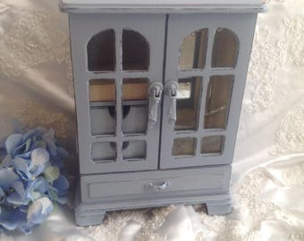 Jewelry Armoire Jewelry Box Shabby Chic Vintage Wood Jewelry Box Hand Painted Blue Gray Jewelry Box