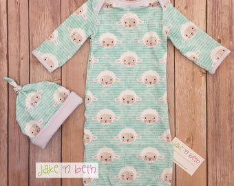 Easter baby gown, knot hat, and no scratch mittens, newborn set, gender neutral, aqua blue lambs