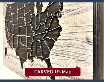 US Map Wall Decor Wood Art Wooden United States American