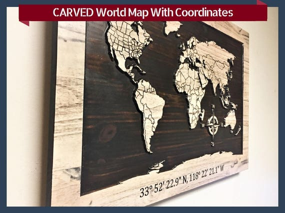 Wooden world carved map country lines custom coordinates like this item gumiabroncs Gallery