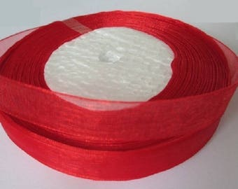10 m 12mm red organza Ribbon