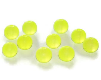 10 frosted glass 10mm neon yellow beads
