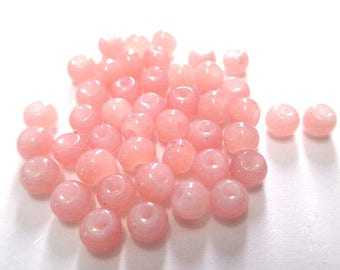 50 glass beads imitation jade color pink 4mm (A-30)