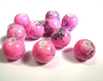 10 pink, black round glass beads painted 10mm