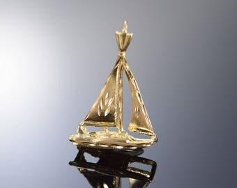14k Sailboat Boat Sailing Charm/Pendant Gold