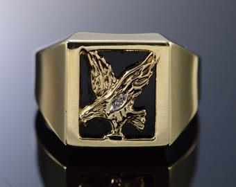 10k Eagle Flying Cut Out Black Onyx Ring Gold
