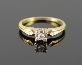 14k Art Deco 0.10 CTW Diamond Engagement Ring Gold