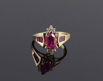 1.00 Ctw Ruby* Diamond Marquise Starburst Ring Size 6.25 Gold