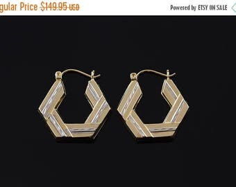 Big SALE 25.3mm Hexagonal Two Tone Textured Hoop Earrings Gold