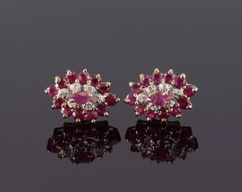 14k Ruby Diamond Marquise Tiered Halo Post Back Earrings Gold
