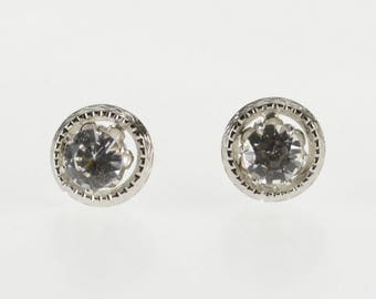 Gold Filled Round Cubic Zirconia Solitaire Textured Trim Stud Earrings