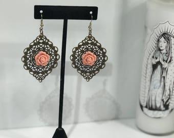 Vintage Rose Filagree Earrings