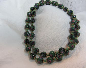 Green and multi-colored Millefiori Glass Trading Bead Hand Knotted Necklace