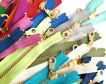 """YKK Golden Brass Metal Zipper with Donut Pull (locking). 20cm/8"""", 25cm/10"""", 30cm/12"""" Closed-Ended. 50 Colours. Aussie Seller. Fast Post"""