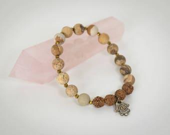 Picture jasper and Rudraksha mala beads, gold swarvoski accents and hamsa dangle