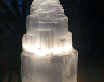 "6"" White Selenite lamp with cord and bulb hand carved selenite tower lamp crystal lamp chakra reiki wicca"