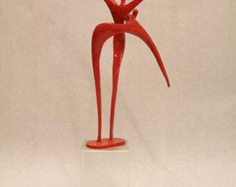 Red art statue