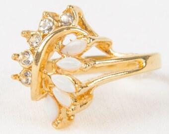 Vintage UNCAS Size 6 GOLD Tone cz Opal RING 1960s Goldtone Cubic Zirconia Stones