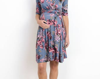 Hello Miz Floral Faux Wrap Maternity Dress
